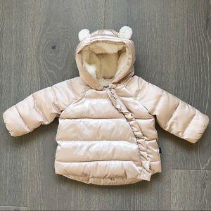 GAP Girls Champagne Winter Puffy Coat Size 6-12 M
